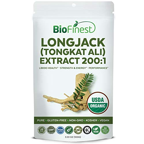 Biofinest Longjack (Tongkat Ali) Extract 200:1 Powder - USDA Certified Organic Pure Gluten-Free Non-GMO Kosher Vegan Friendly - Supplement for Performance, Stamina, Strength & Energy (100g)