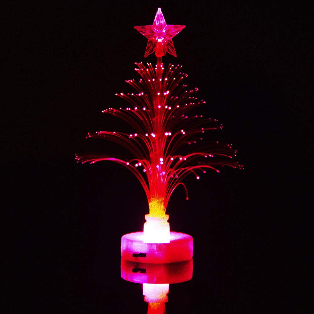 Allywit Christmas Merry Mini LED Color Changing Xmas Tree Charm Nightlight Desk Bedroom Decoration Lamp for Bedroom, Home, Party Decor, Kids/Baby/ Nursery Bedroom Gift (Hot Pink)