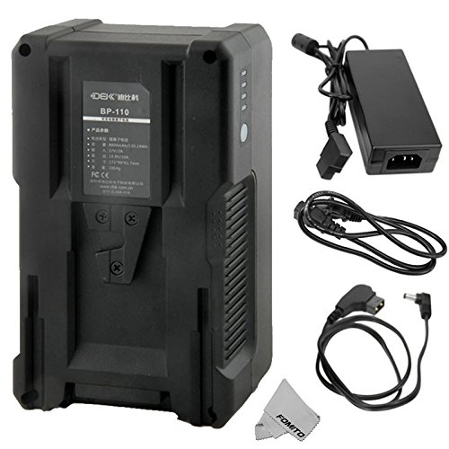 Fomito BP-110 110Wh (7800mAh/14.8V) V Mount Battery & Charger for Sony Video Camcorder, LED Video Light with V-mount + DC -D-Tap Power Supply Cable for Aputure Light Storm LS 1C / LS 1S / 1/2W, etc by Fomito