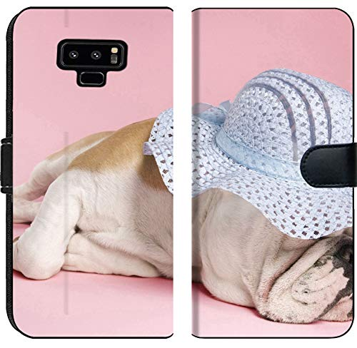 (Liili Premium Samsung Galaxy Note9 Flip Micro Fabric Wallet Case Image ID: 1795748 English Bulldog Sleeping on Pink Background and Wearing a)