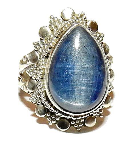 Blue Kyanite Ring Natural Gemstone Crystal Healing Energy Size 6 KYNR021