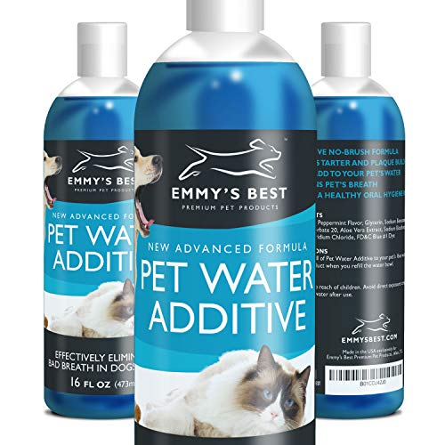 Emmy's Best Premium Dog and Cat Breath Freshener Pet Water Additive for No Brushing Removal of Plaque, Tartar and Improvement of Bad Breath (16oz) ... ()