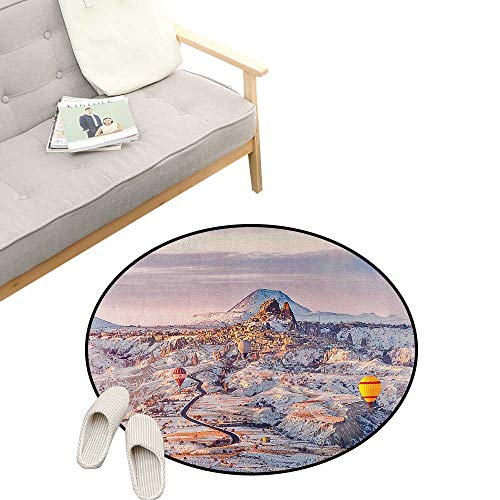 Winter Round Rugs for Bedroom ,Cappadocia Turkey Landscape with Hot Air Balloons Anatolia Valley Geology Tourism, Skid Resistant Rug Pet Pad 23