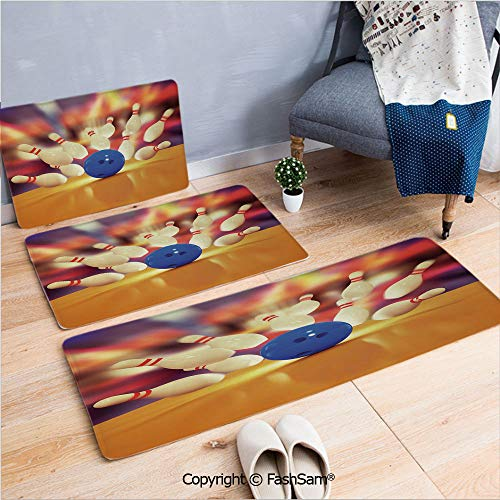 FashSam 3 Piece Flannel Doormat Spread Skittles Blue Ball on Wooden Floor Moment of Crash Print Decorative for Kitchen Rugs Carpet(W15.7xL23.6 by W19.6xL31.5 by W31.4xL47.2)