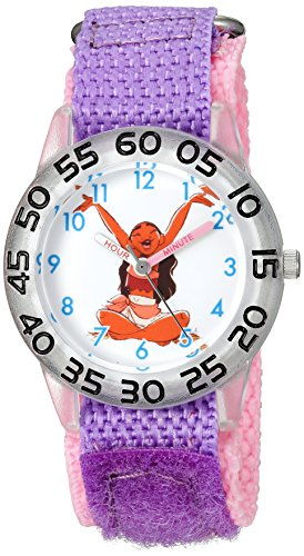 Disney Girl's 'Moana' Quartz Plastic and Nylon Casual Watch, Color:Purple (Model: WDS000041)