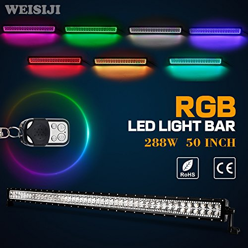 WEISIJI LED Light Bar,50Inch 288w Straight RGB Hal Ring Color Changing Backlighting Decoration Combo Beam Working Lights for 4x4 Offroad SUV UTV ATV Truck Boat(50inch 288w)