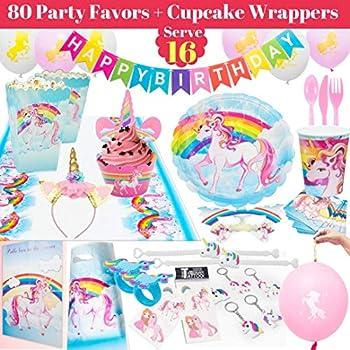 Rainbow Unicorn Party Supplies Pack Set