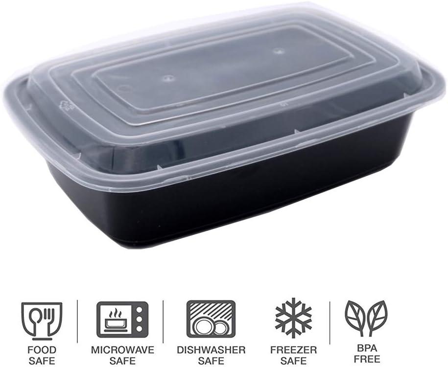 HENSHOW 1 Compartimiento de Comida Juegos de Recipientes Set de 10 Piezas Microondas Congelador y Apto para Lavavajillas 1000 ML Premium Reutilizable BPA Libre Juegos de Recipientes con Tapa