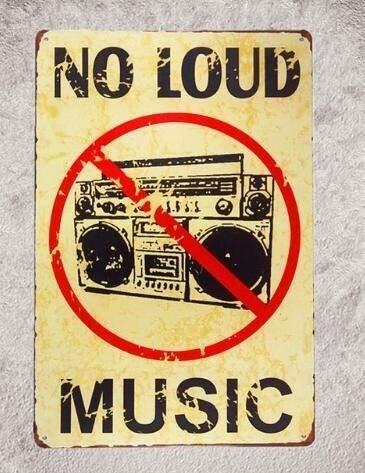 Amazon com: Vintage Metal Tin Signs No Loud Music Art