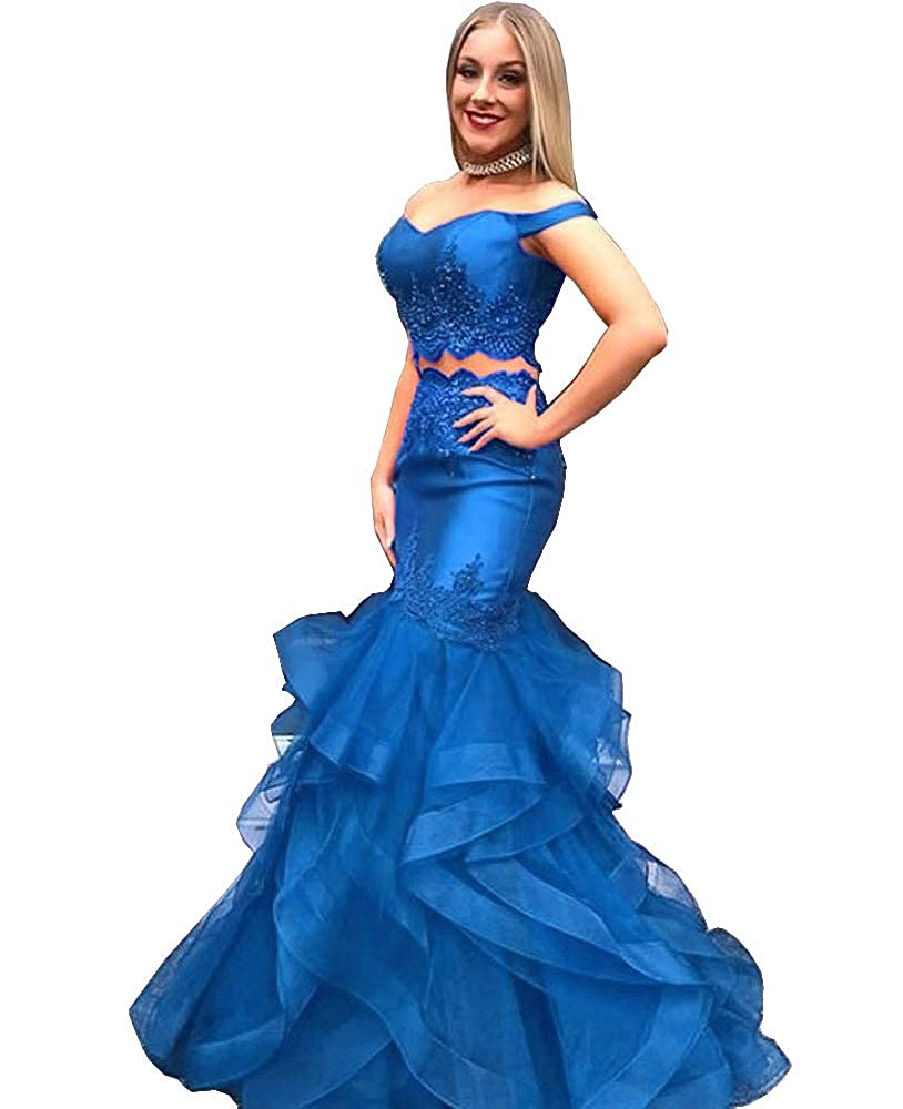 bluee Sweet Bridal Women's Mermaid 2 Pieces Beaded Prom Dress Long Off Shouler Prom Gowns