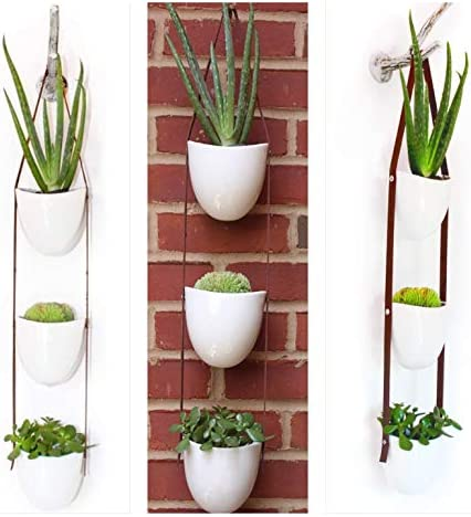 White Ceramic Hanging Cactus Planter 3 Piece-Vertical Succulent Set for Indoor Outdoor Plants-Living Wall Garden, with drainage -Vegan Faux Leather.