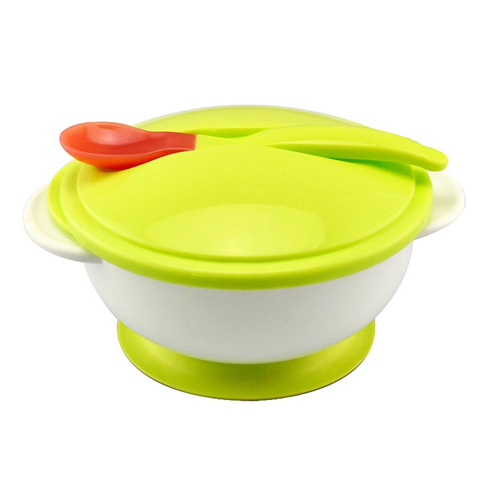 Amazemarket Unisex Baby Infant Toddler Non-slip Two-handed Binaural Suction Feeding Bowl Early Training Tableware Sucker Cover Handle Utensil Dinner With Lid and Spoon (green)