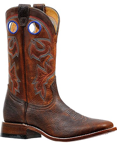 Boulet Western Boots Uomo Stockman Rider Pull Holes Old Town 6369 Brown