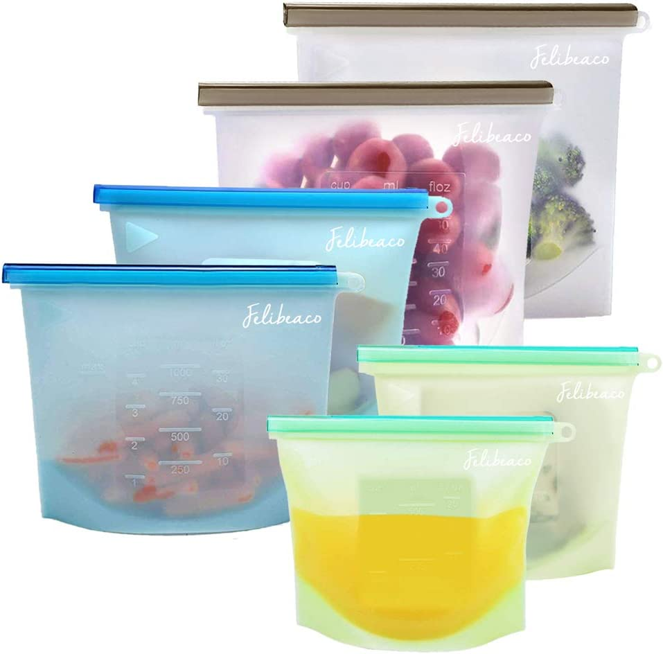Felibeaco Reusable Silicone Food Storage Bags, Ziplock Silicone Freezer Bag, Airtight Seal Leakproof Storage Bag for Lunch,Vegetable, Liquid, Snack, Meat, Fruits, (6 Pack) 2xL 50oz, 2xM 30oz, 2xS 20oz