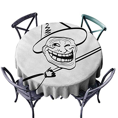 VIVIDX Anti-Fading Tablecloths,Humor,Halloween Spirit Themed Witch Guy Meme LOL Joy Spooky Avatar Artful Image Print,Table Cover for Home Restaurant,40 INCH,Black and White
