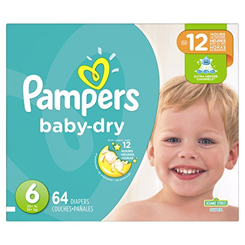 Pampers Baby-Dry Disposable Diapers Size 6, 64 Count, SUPER