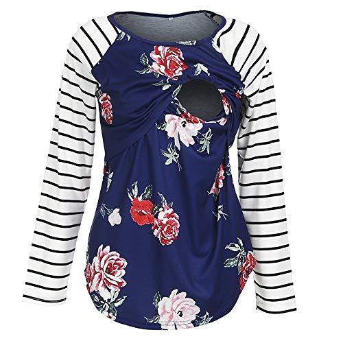 Women's Nursing Tops Breastfeeding Shirt Long Sleeves Casual Nursing Clothes (Blue,L)