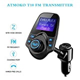 Wireless In-Car Bluetooth FM Transmitter,Atmoko Radio Adapter Car Kit/Car Charger with 3.5mm Audio Port Support TF/SD Card for Smartphones and Tablets Audio Players