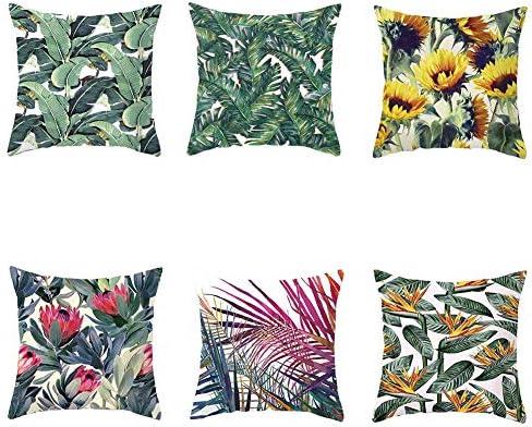VLUNT 6 Pack Fundas de Cojines para Sofa, Estampados de Planta Tropical Fundas Cojines Rectangulares 45x45 cm Cushion Cover: Amazon.es: Hogar