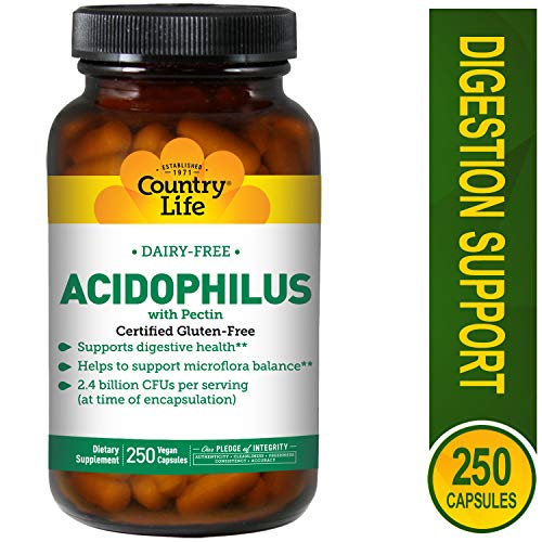 (Country Life - Natural Dairy-Free Acidophilus with Pectin - 250 Vegan Capsules)