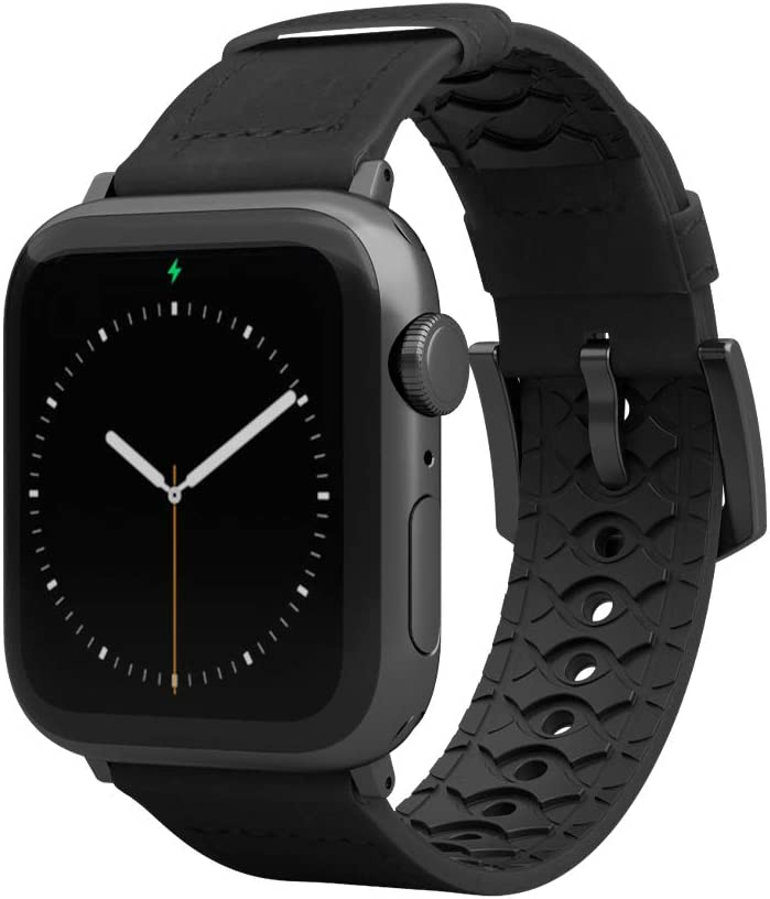 Groove Life - Vulcan Watch Band Compatible with Apple Watch 38mm 40mm 42mm 44mm, Breathable Leather and Silicone Bands Series 5 4 3 2 1 - Obsidian Wide Long Space Grey