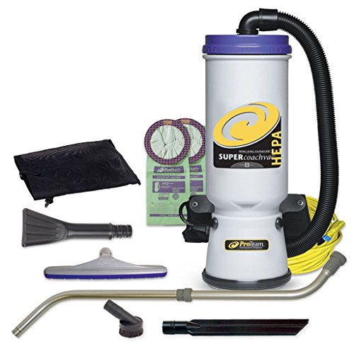 Vacuum Clean Canister Hepa Air (ProTeam Backpack Vacuums, Super CoachVac Commercial Backpack Vacuum Cleaner with HEPA Media Filtration and Small Business Tool Kit, 10 Quart, Corded)