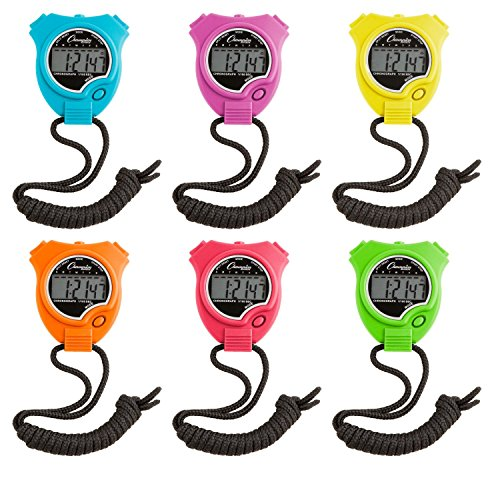 Champion Sports Stopwatch Timer Set: Waterproof, HandHeld Digital Clock Sport Stopwatches with Large Display for Kids or Coach Bright Colored 6 Pack