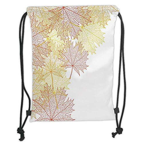 Custom Printed Drawstring Sack Backpacks Bags,Leaves,Pattern with Maple Tree Fall Leaves Skeleton Dried Golden Forms Halloween Decoration Decorative,Red Yellow Soft Satin,5 Liter Capacity,Adjustable S -