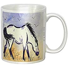 Marsh Tacky Pony in Purple Mustang Wild Horse Art by Denise Every - White Coffee Mug with Round Rubber Drink Coaster