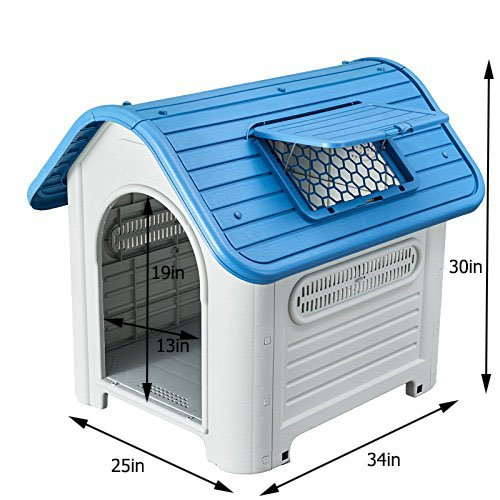 pengchen Pet Waterproof Plastic Dog Kennel Outdoor House (35, Blue)