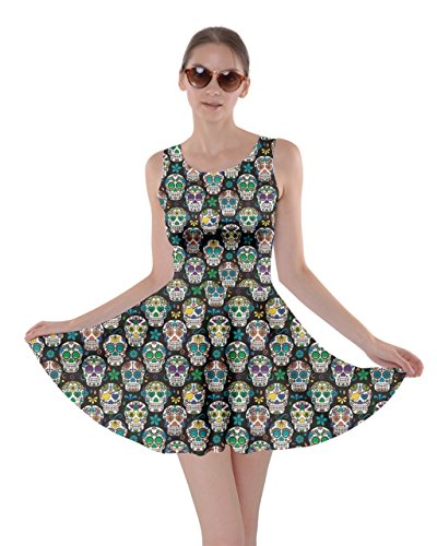 CowCow Womens Black Day of The Dead Sugar Skull Skater Dress, Black - L