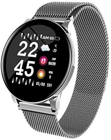 TOHHOT Electrónica W8 Smart Watch Ladies Pronóstico del Tiempo Fitness Sports Tracker Monitor de Ritmo cardíaco Smartwatch Android Mujeres Relojes para Hombres Pulsera Inteligente Acero Plateado