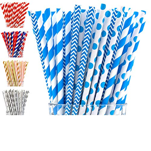 Paper Straws by PGK - 200 Box | Blue Paper Straws | Blue Chevron Straws | Blue and White Baby Shower Straws | Light Blue Straws | Blue Striped Straws -