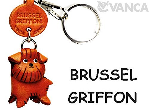 Brussels Griffon Leather Dog Small Keychain VANCA CRAFT-Collectible Keyring Charm Pendant Made in Japan