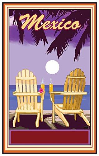 Mexico Adirondack Chairs Palms Corona Giclee Travel Art