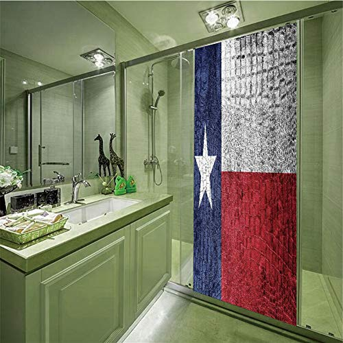 Electrostatic Glass Sticker,Western Decor,Texas State Flag Painted on Luxury Crocodile Snake Skin Texture Looking Patriotic Emblem Decorative,35.43