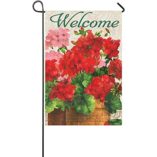 - Starochi Holiday Decor Outdoor House Flag- Welcome Red Geraniums 12 x 18 inches Double Sided Garden Flag