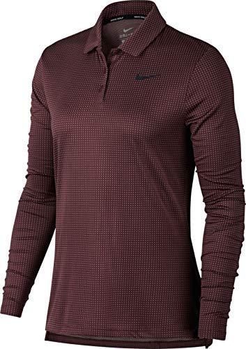 Nike Women's Dry Longsleeves Core Circular Knit Jacquard Golf Polo (Burgundy Crush/Black, X-Large)