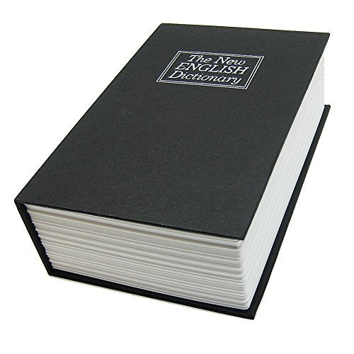 BlueDot Trading Dictionary Secret Book Hidden Safe with Key Lock, Large, Black