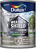 Dulux Weathershield Quick Dry Multi Surface Paint. Satin. Warm Graphite. 750ml for uPVC, wood and metal (no primer/undercoat required) by Akzo Nobel