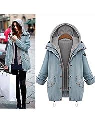 Warm Outwear BeautyVan New Fashion Design Winter Women Warm Collar Hooded Coat Jacket Denim Trench Parka Outwear