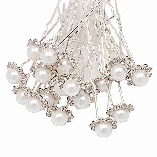Fani 20pcs Elegant Hairpin White Pearl Jewelry Flower Bridal Wedding Decorative Hair Pins Clips Hair Accessories Ornaments