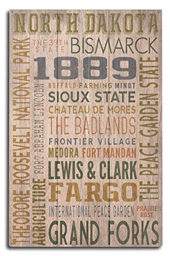 - Lantern Press North Dakota - Rustic Typography (10x15 Wood Wall Sign, Wall Decor Ready to Hang)