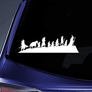 "Bargain Max Decals LOTR Caravan Fellowship Sticker Decal Notebook Car Laptop 8"" (White)"