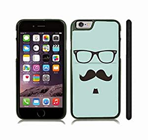 iStar Cases? iPhone 6 Plus Case with Mustache, Soulpatch and Glasses on Pale Blue Background , Snap-on Cover, Hard Carrying Case (Black)