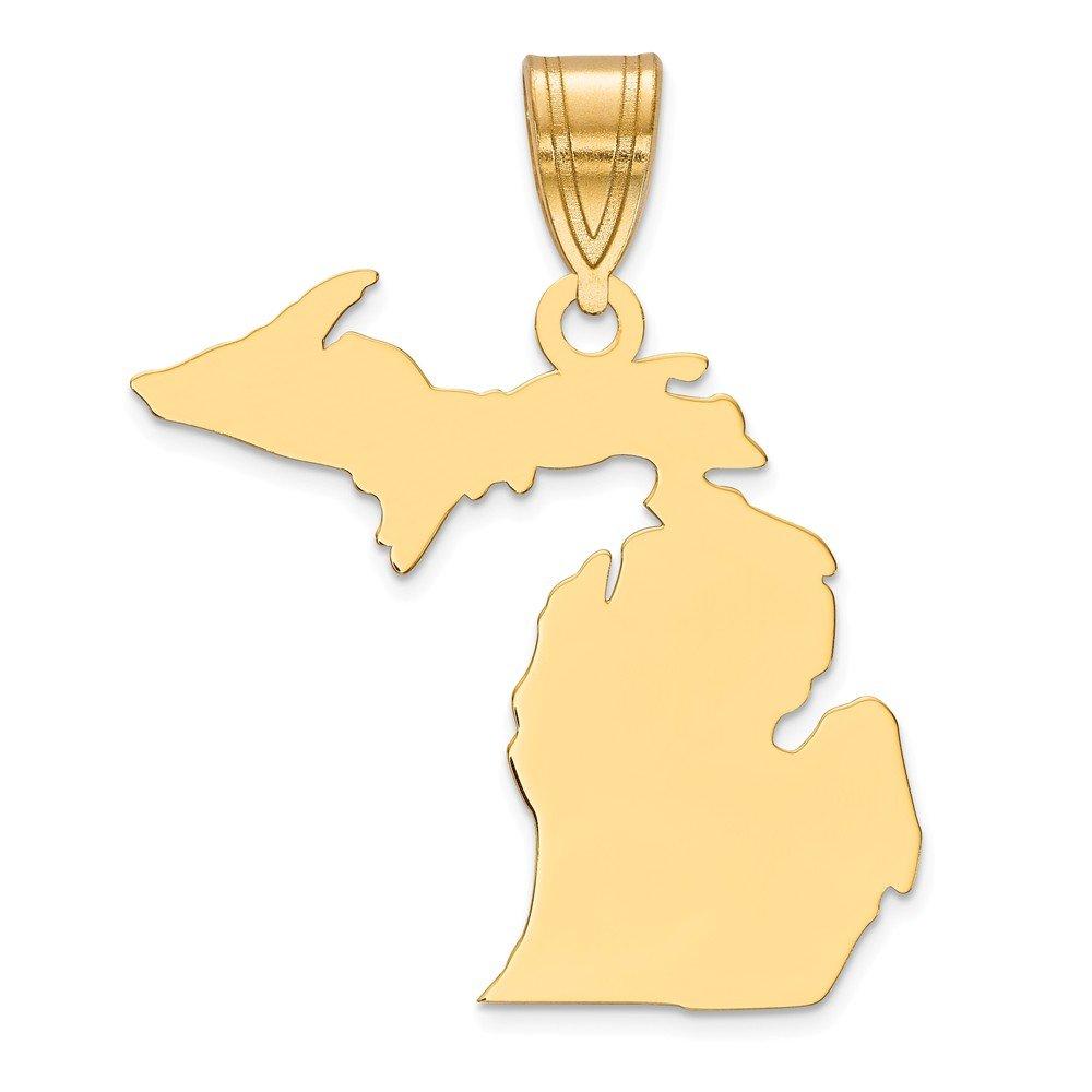 Mia Diamonds 925 Sterling Silver Gold Plated MI State Pendant Charm