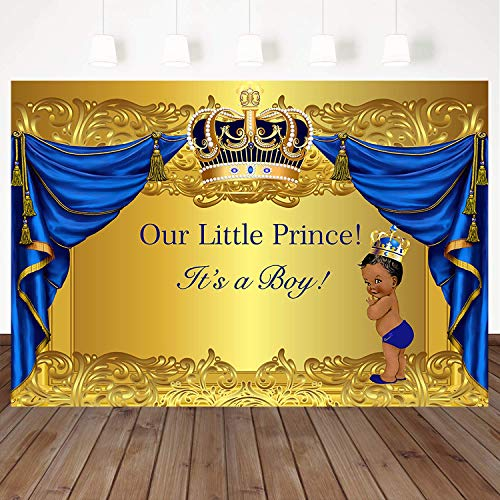 Mehofoto Baby Shower Photography Backdrop Crowned Royal Prince 7x5ft Vinyl Background Gold and Blue Curtain Newborn Birthday Party Decoration Customized Backdrop for Photographers