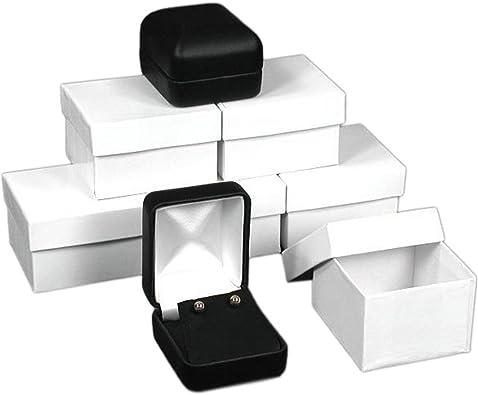 6 cajas para pendientes de piel negra para joyería con caja de ...