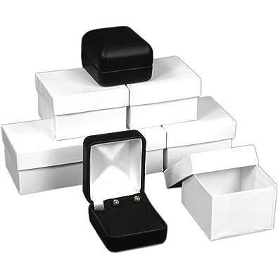 FindingKing 6 Cajas para Pendientes de Piel Negra para joyería con Caja de Regalo