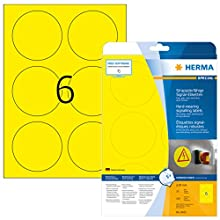 Herma 8035 - Pack de 150 rótulos, diámetro 85 mm, color amarillo